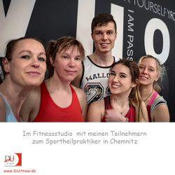 Mit den Teilnehmern der Ausbildung zum Sportheilpraktiker (Chemnitz) im Fitnessstudio