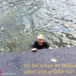 Schwimmen im Fluß, genau genommen im Neckar